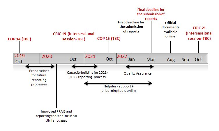 Proposed tentative timeline for the upcoming reporting process